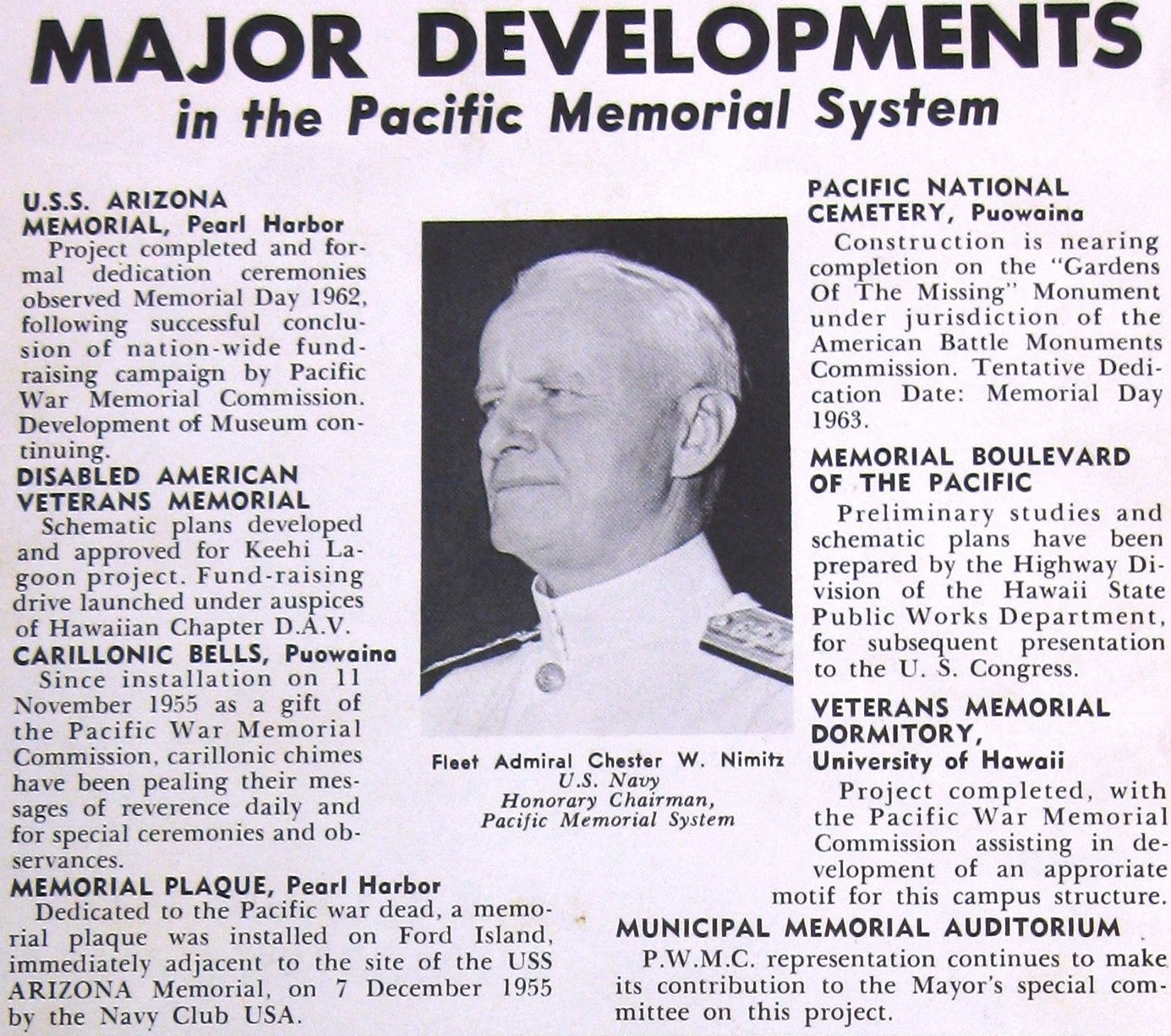 Pacific War Memorial Commission Newsletter 1962