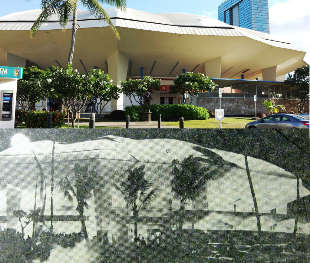 Blaisdell Arena on Sept 12, 1964 (below), and nearly 50 years later (above)