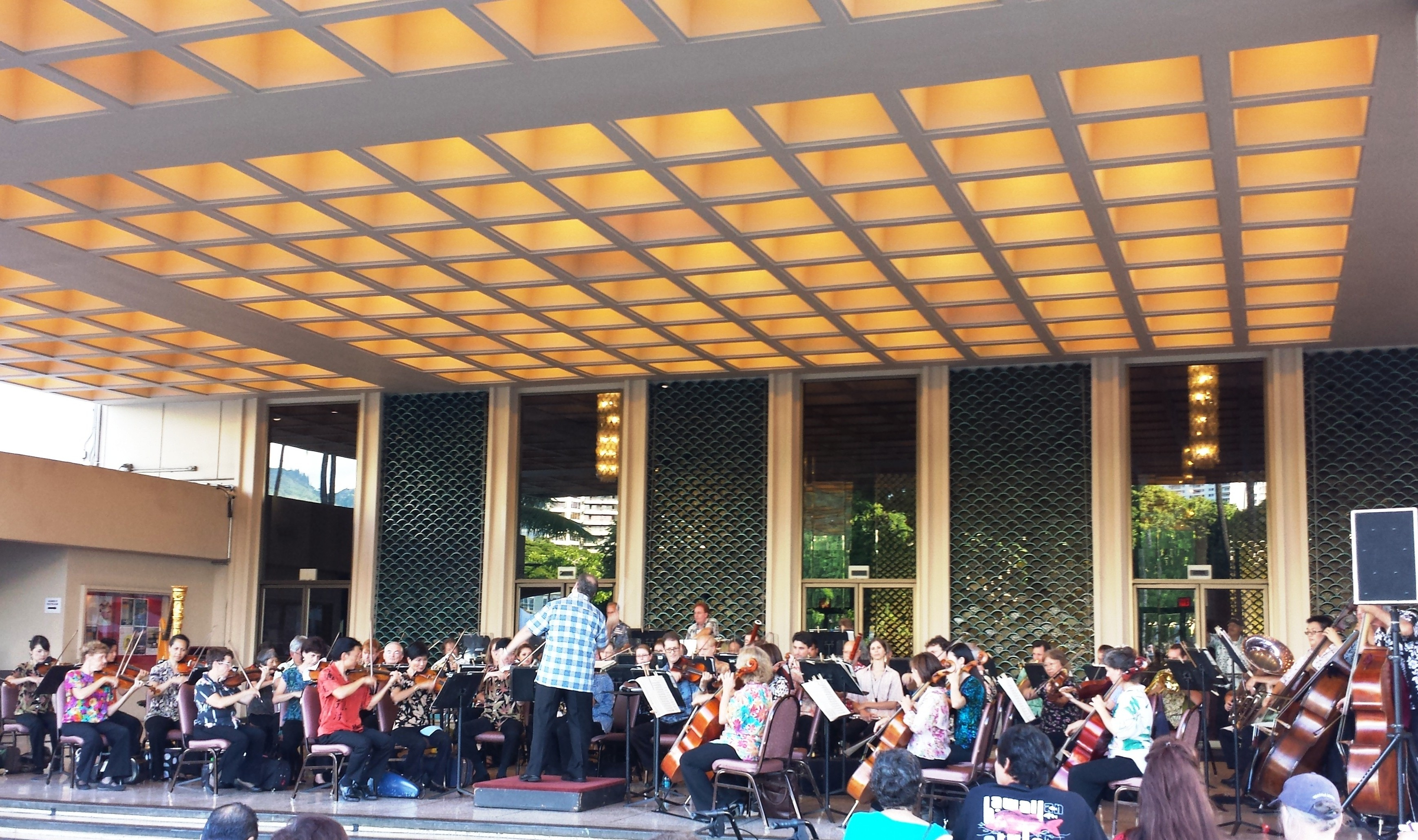 Hawaii Symphony Orchestra performance in front of Blaisdell Concert Hall
