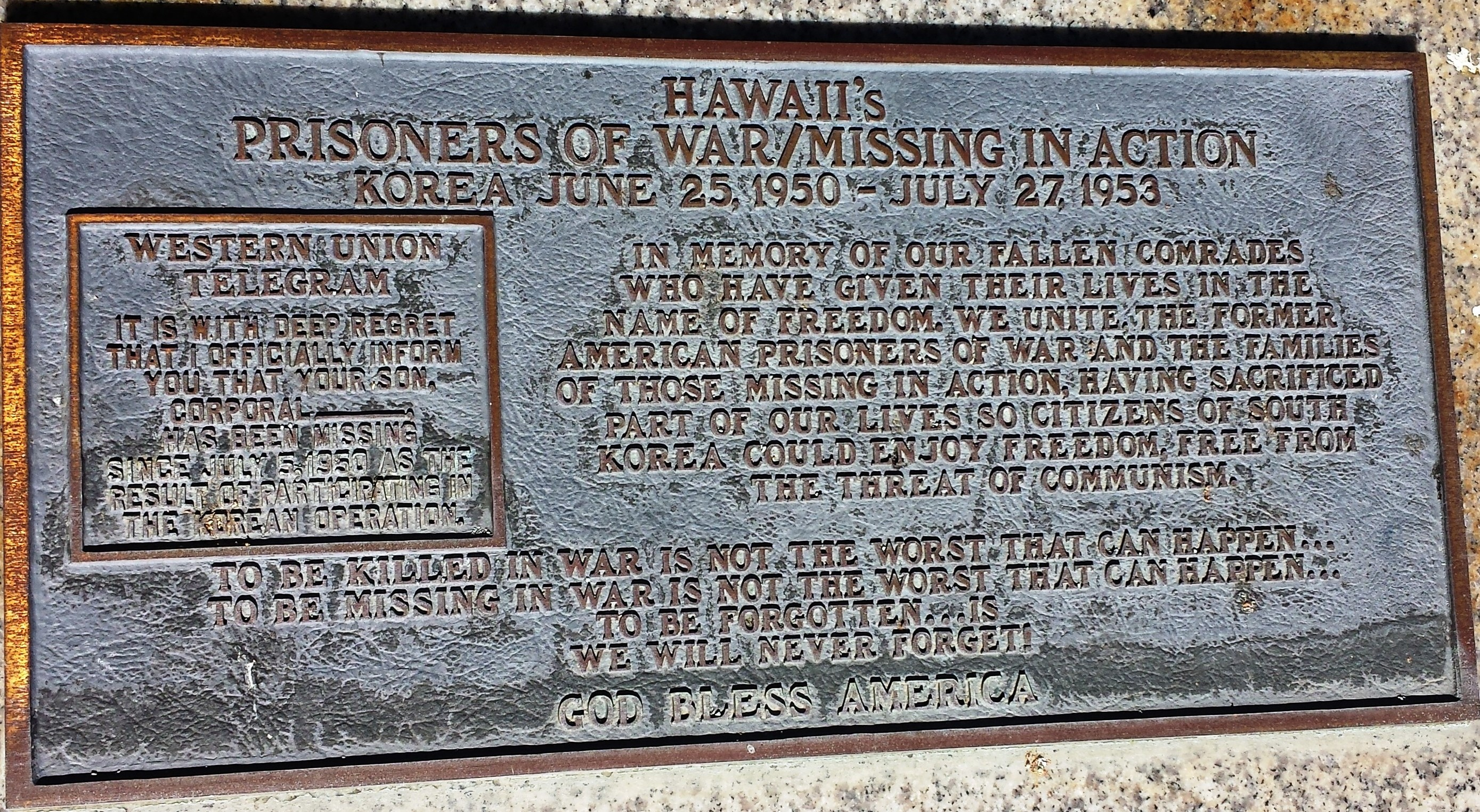 POW/MIA plaque along Memorial walk at Punchbowl National Memorial Cemetery