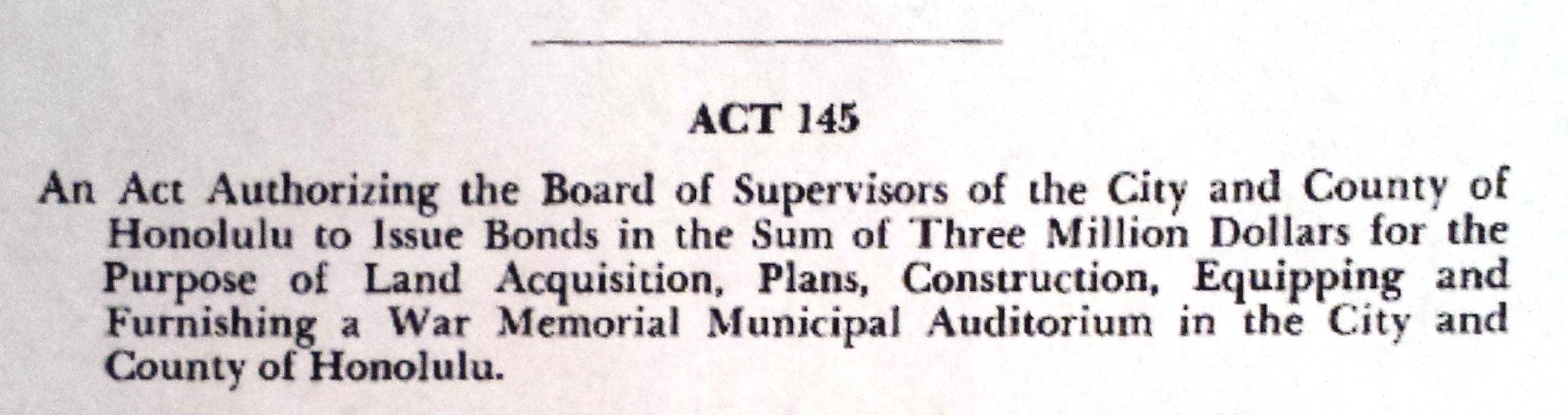 Hawaii Session Laws, excerpt from Act 145