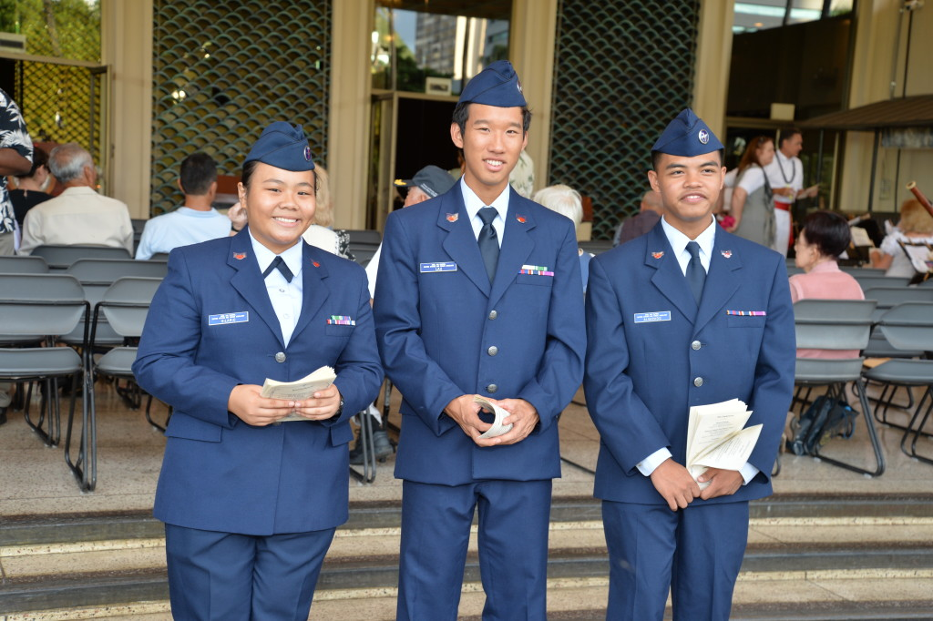 Maryknoll cadets took part in the original dedication celebration of the then named Honolulu International Center. Here they pass out programs to event goers. Photo: Ann Kabasawa